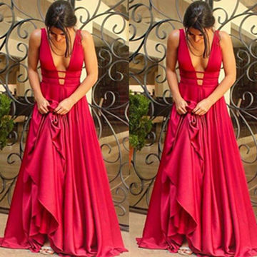 Long Sexy Red A-line V-Neck Sleeveless Prom Dresses 2018 Chiffon