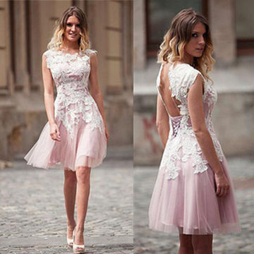 Pink Backless Lace Sleeveless Knee-length Tulle Prom Dresses 2017