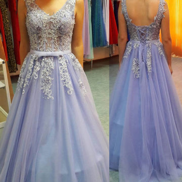 Long Purple Ball Gown V-Neck Sleeveless Corset Appliques Prom Dresses 2018