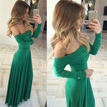 Sexy Green A-line Long Sleeves Ruched Prom Dresses 2018