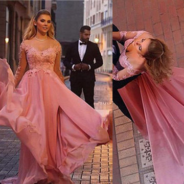Floral A-line Long Sleeves Appliques Prom Dresses 2018 Chiffon