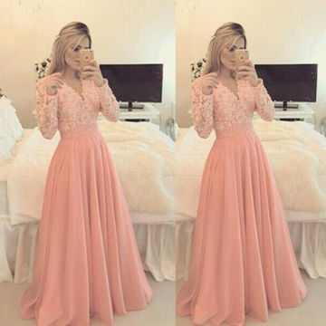 Cute A-line V-Neck Long Sleeves Prom Dresses 2018 Chiffon Lace