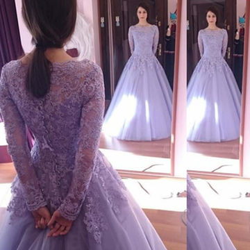 Modest Purple Ball Gown Long Sleeves Appliques Prom Dresses 2018