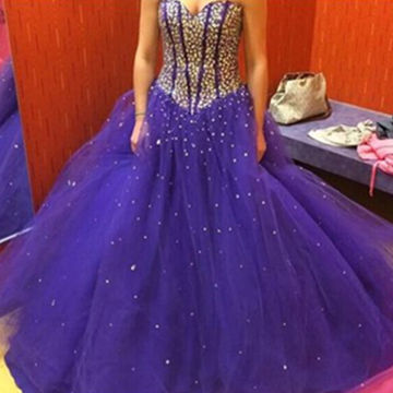 Sweetheart Ball Gown Tulle Prom Dresses 2018