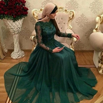 Modest Green A-line Long Sleeves Appliques Prom Dresses 2019 Chiffon