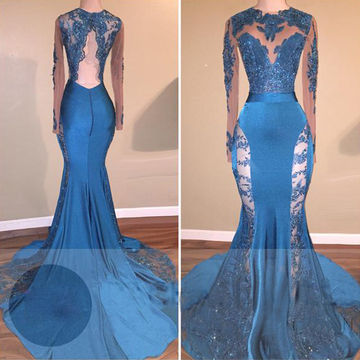 Trumpet/Mermaid Long Sleeves Backless Beading Prom Dresses 2018 Open Back Sexy