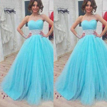 Long Sexy Blue Ball Gown Sweetheart Sleeveless Corset Beading Prom Dresses 2018