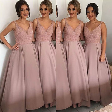 A-line V-Neck Sleeveless Beading Prom Dresses 2018