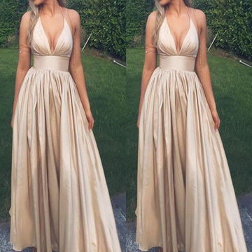 Long Simple Sexy A-line Halter Sleeveless Prom Dresses 2018 V-Neck