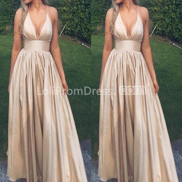 Vintage Medieval Wedding Gowns A Line Deep V Neck Long: 49%OFF Long Simple Sexy A-line Halter Sleeveless Prom