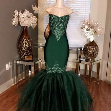 Long Elegant Green Mermaid Sweetheart Sleeveless Beading Prom Dresses 2019