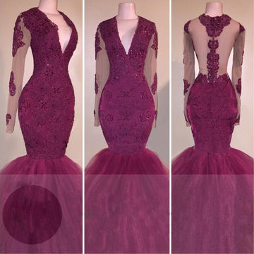 Sexy Burgundy Mermaid V-Neck Long Sleeves Zipper Appliques Prom Dresses 2018