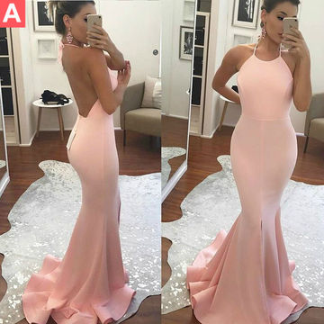 Pink Halter Backless Sweep Train Mermaid Prom Dresses 2018