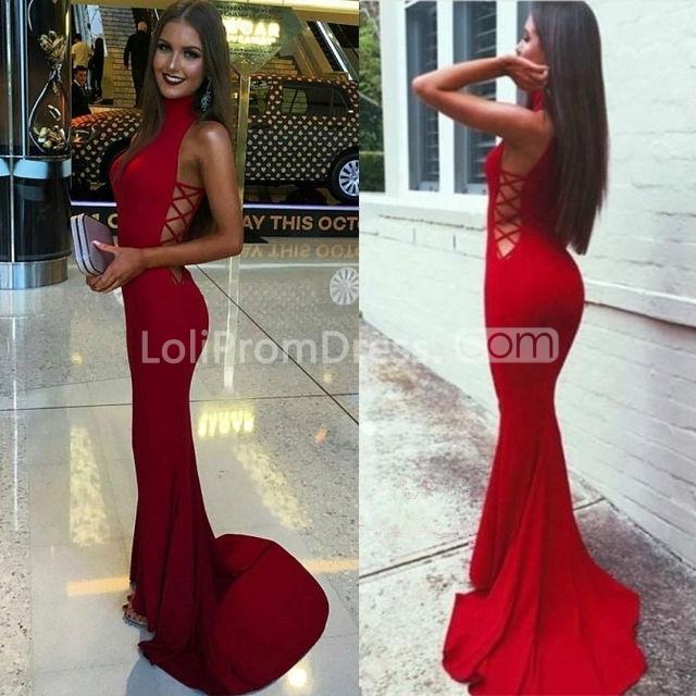 49off long sexy red mermaid high neck sleeveless prom