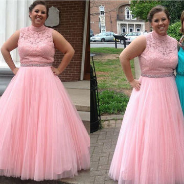 Long Plus Size Junior Pink Ball Gown High Neck Sleeveless Backless Appliques Prom Dresses 2018 Open Back Lace