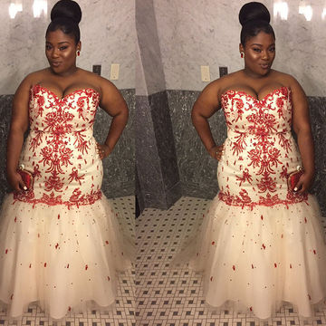 Long Plus Size African Mermaid Sweetheart Sleeveless Zipper Appliques Prom Dresses 2018