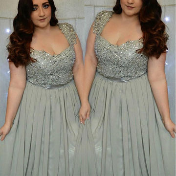 Long Plus Size Silver A-line Capped Sleeves Zipper Appliques Prom Dresses 2018 Chiffon