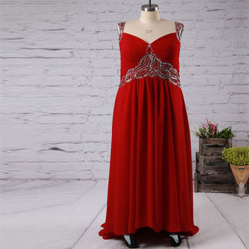 Long Plus Size Red A-line Straps Sleeveless Zipper Beading Prom Dresses 2018 Chiffon
