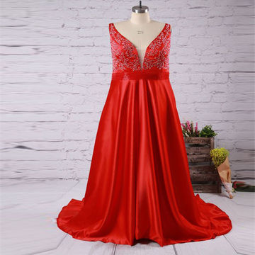 Long Plus Size Red A-line Straps Sleeveless Zipper Crystal Detailing Prom Dresses 2018
