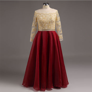 Plus Size Burgundy A-line Long Sleeves Zipper Appliques Prom Dresses 2018