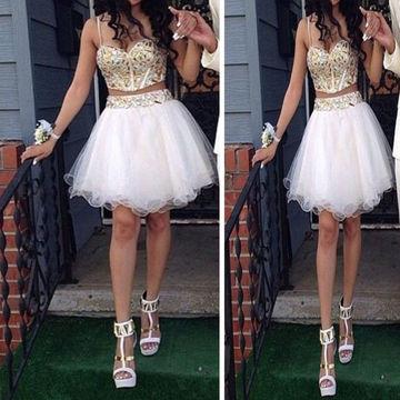 Cute White A-line Spaghetti Straps Sleeveless Zipper Pattern/Print Homecoming Dresses 2019 Two Piece