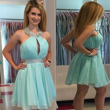 49%OFF A-line Halter Sleeveless Zipper Beading Homecoming Dresses ... c815ee46a