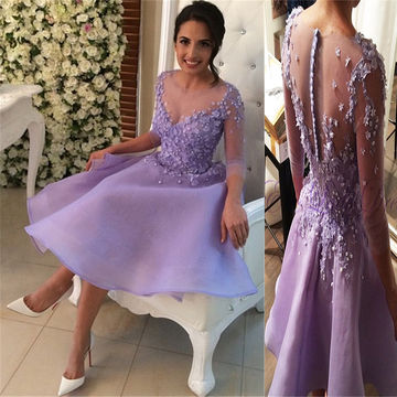 Cute A-line V-Neck 3/4 Length Sleeves Zipper Appliques Prom Dresses 2018 Chiffon Sexy For Short Girls