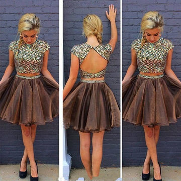Cute A-line Short Sleeves Open Back Beading Prom Dresses 2018 Two Piece