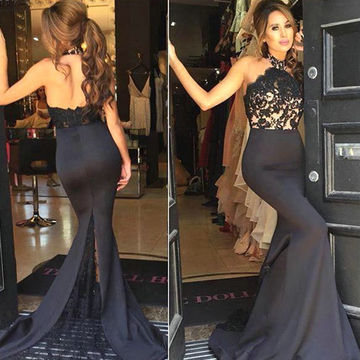Long Sexy Black Mermaid Halter Sleeveless Backless Appliques Prom Dresses 2018 Open Back