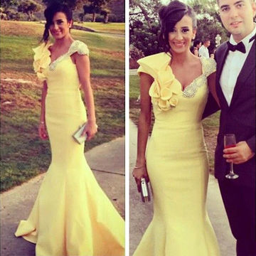 Long Yellow Mermaid Straps Capped Sleeves Zipper Beading Prom Dresses 2018