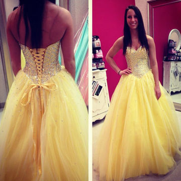 Crystal Ball Gown Quinceañera Tulle Prom Dresses 2018