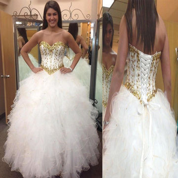 White Sweetheart Crystal Ball Gown Quinceañera Tulle/Sweet 16/Formal/Prom Dresses 2017