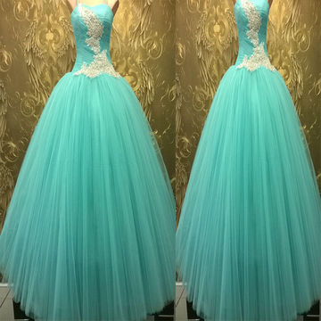 Long Ball Gown Spaghetti Straps Zipper Appliques Prom Dresses 2018