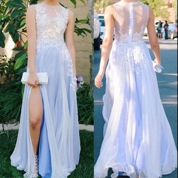 Long Sexy A-line Sleeveless Zipper Appliques Prom Dresses 2018 Chiffon