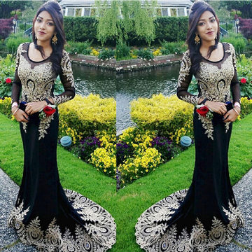 Black and Gold Mermaid Long Sleeves Zipper Appliques Prom Dresses 2018