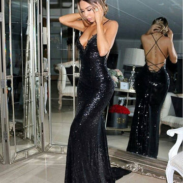 Long Sexy Spaghetti Straps Backless Criss Cross Prom Dresses 2018 V-Neck Open Back