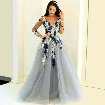 49%OFF Junior Blue Ball Gown V-Neck Long Sleeves Appliques Prom ...