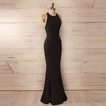 Cheap Long Sexy Simple Black Mermaid Halter Sleeveless Backless Prom Dresses 2018 Open Back For Short Girls