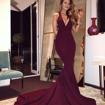 Long Sexy Burgundy Mermaid V-Neck Sleeveless Backless Criss Cross Prom Dresses 2018 Open Back