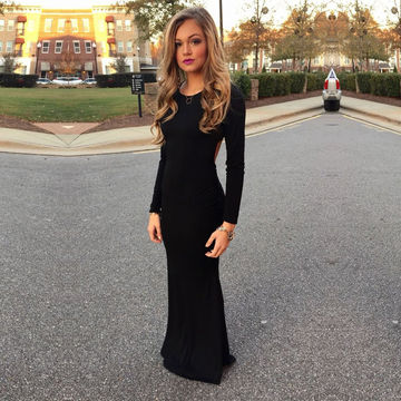 Black Formal Dresses with Back Piece
