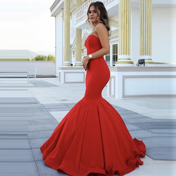 Long Red Mermaid Sweetheart Sleeveless Zipper Prom Dresses 2018
