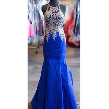 Blue Appliques Mermaid Satin Prom Dresses 2017