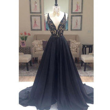 Long Sexy Black A-line V-Neck Sleeveless Zipper Beading Prom Dresses 2018