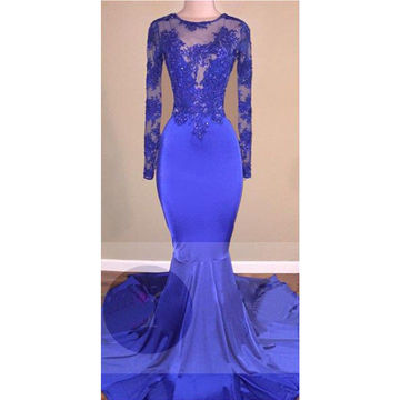 Sexy Blue Mermaid Long Sleeves Backless Appliques Prom Dresses 2018 Open Back