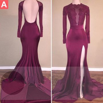 Beading Long Sleeves Mermaid Stretch Satin Prom Dresses 2017