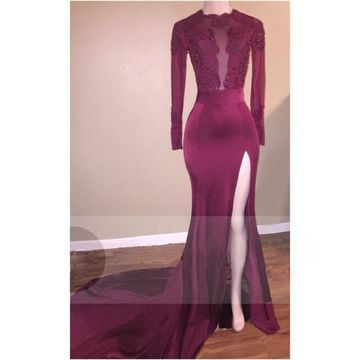 Sexy Burgundy Mermaid Long Sleeves Backless Beading Prom Dresses 2018 Open Back