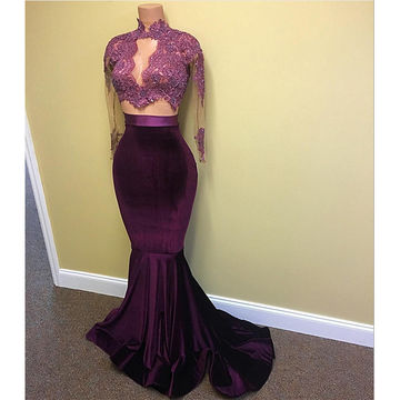 Sexy Purple Mermaid High Neck Long Sleeves Appliques Prom Dresses 2018 Two Piece