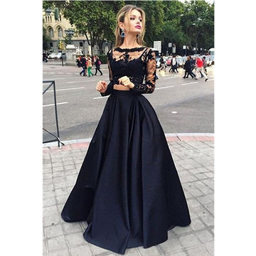 Black A-line Long Sleeves Zipper Prom Dresses Ball Gowns 2018 Lace