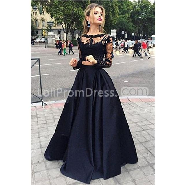2018 Fashion Simple Beige Wedding Dresses Full Sleeve: 49%OFF Black A-line Long Sleeves Zipper Prom Dresses Ball