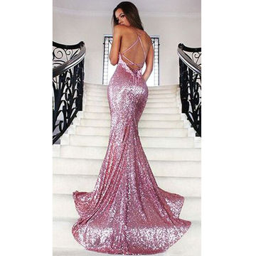 Long Purple Mermaid Spaghetti Straps Sleeveless Backless Sequins Prom Dresses 2018 Open Back